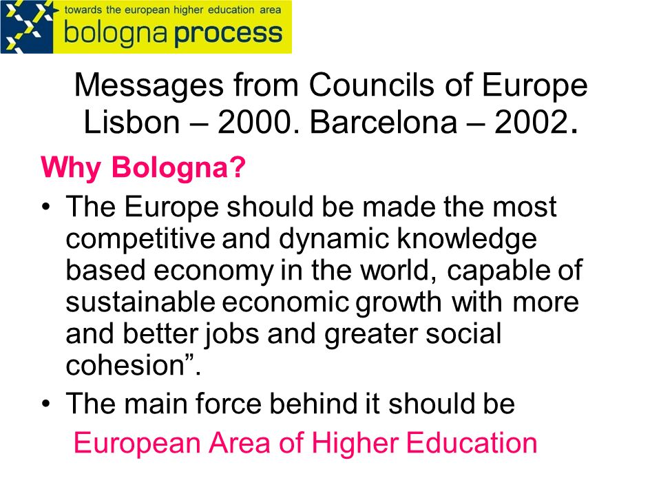 Messages from Councils of Europe Lisbon – Barcelona –