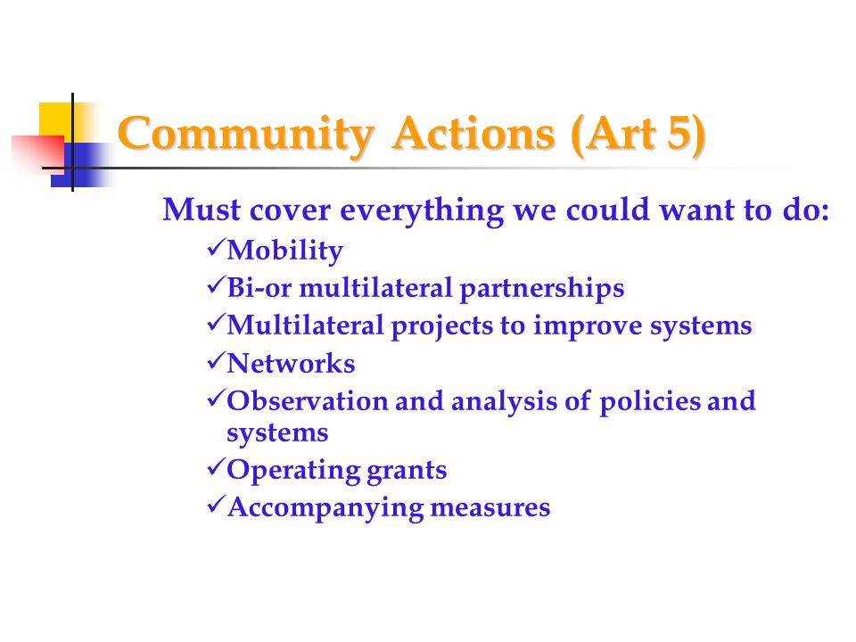 Community Actions (Art 5) Must cover everything we could want to do: Mobility Bi-or multilateral partnerships Multilateral projects to improve systems Networks Observation and analysis of policies and systems Operating grants Accompanying measures
