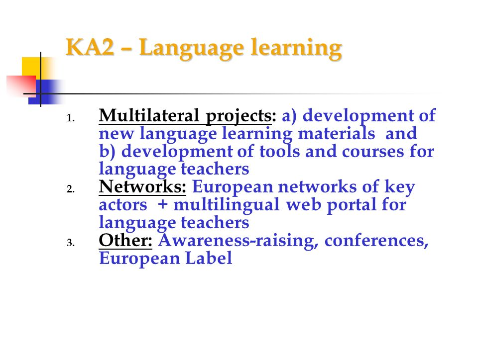KA2 – Language learning 1.