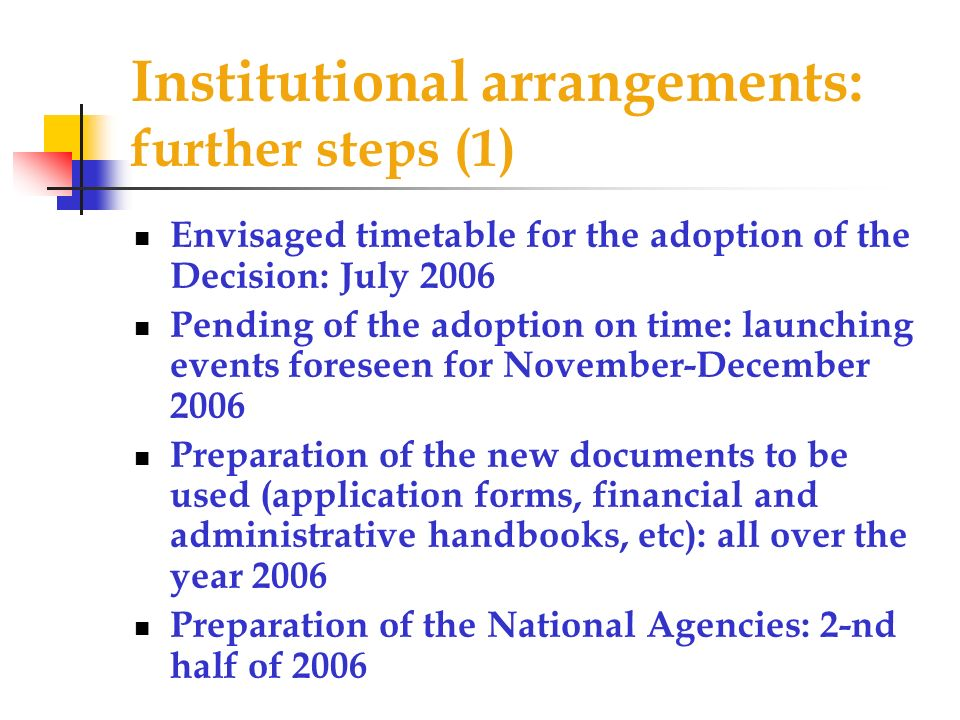 Institutional arrangements: further steps (1) Envisaged timetable for the adoption of the Decision: July 2006 Pending of the adoption on time: launching events foreseen for November-December 2006 Preparation of the new documents to be used (application forms, financial and administrative handbooks, etc): all over the year 2006 Preparation of the National Agencies: 2-nd half of 2006
