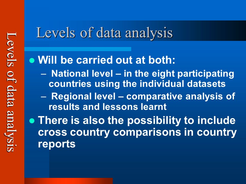 Levels of data analysis Levels of data analysis Will be carried out at both: – National level – in the eight participating countries using the individual datasets – Regional level – comparative analysis of results and lessons learnt There is also the possibility to include cross country comparisons in country reports Levels of data analysis