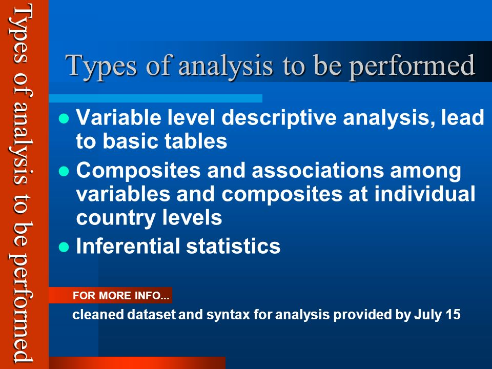 Types of analysis to be performed Types of analysis to be performed Variable level descriptive analysis, lead to basic tables Composites and associations among variables and composites at individual country levels Inferential statistics FOR MORE INFO...