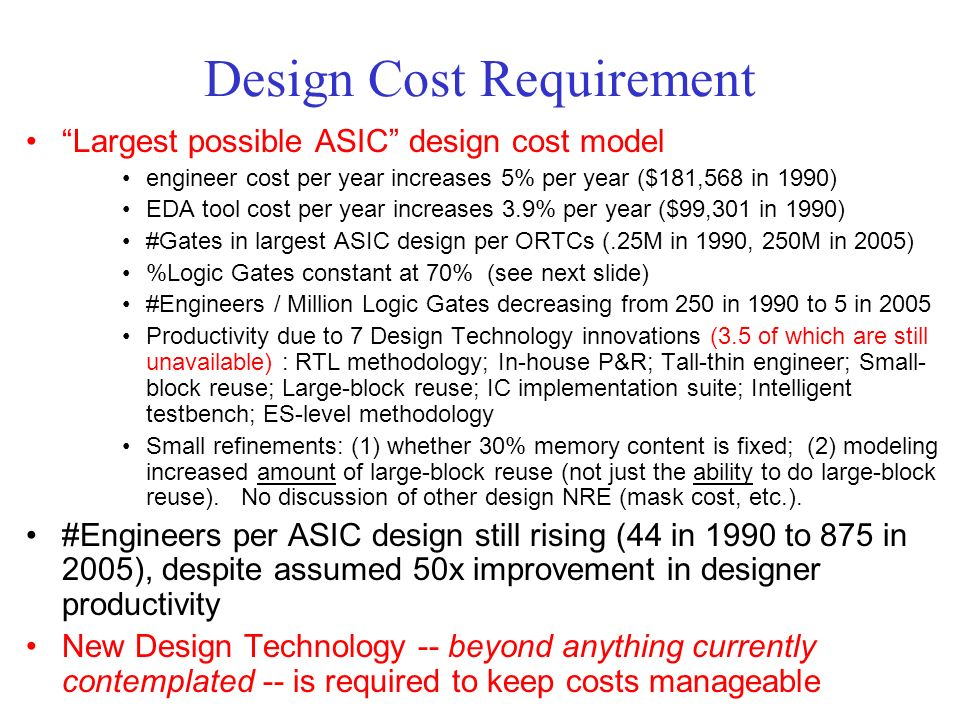 Design Cost Requirement Largest possible ASIC design cost model engineer cost per year increases 5% per year ($181,568 in 1990) EDA tool cost per year