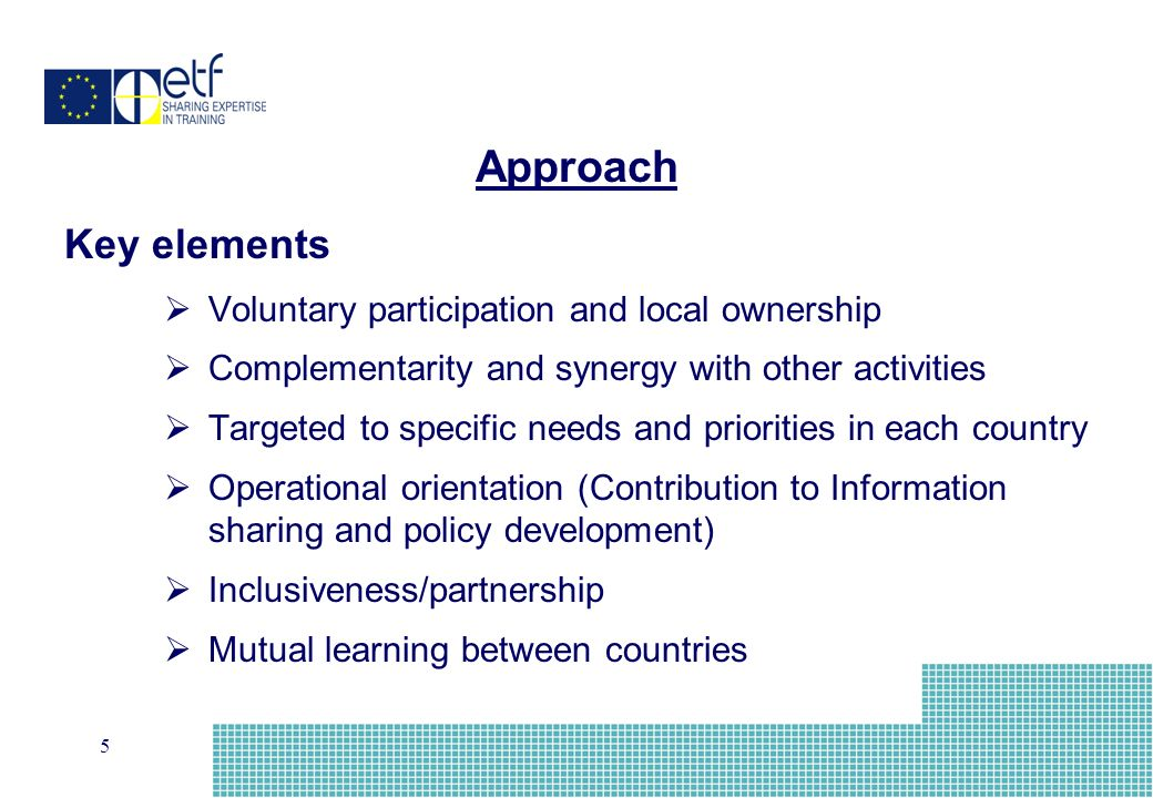 5 Key elements Voluntary participation and local ownership Complementarity and synergy with other activities Targeted to specific needs and priorities in each country Operational orientation (Contribution to Information sharing and policy development) Inclusiveness/partnership Mutual learning between countries Approach