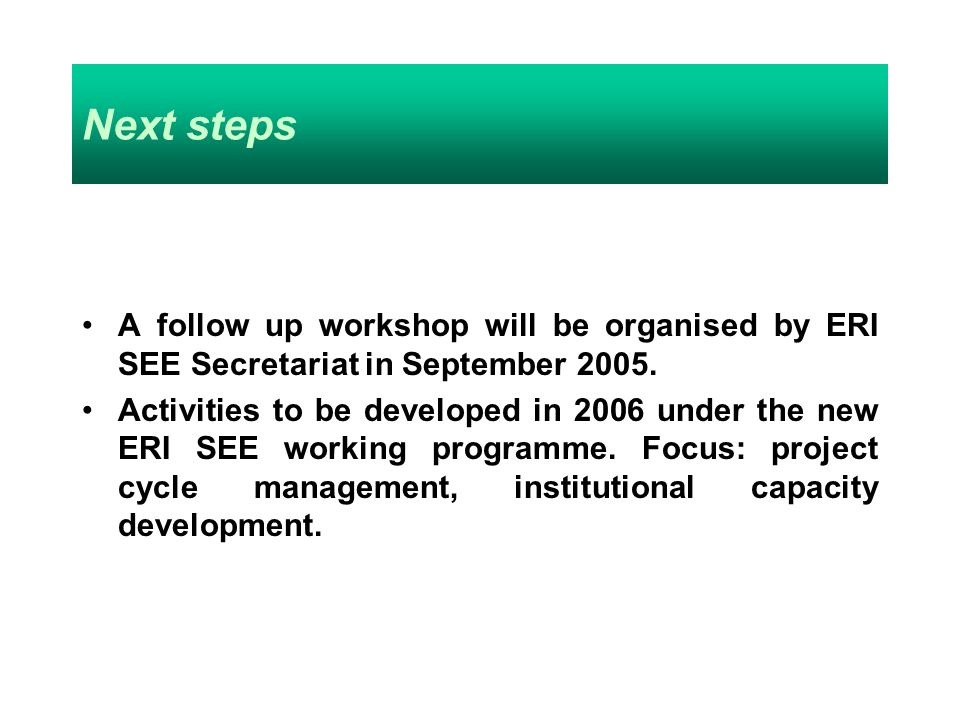Next steps A follow up workshop will be organised by ERI SEE Secretariat in September 2005.