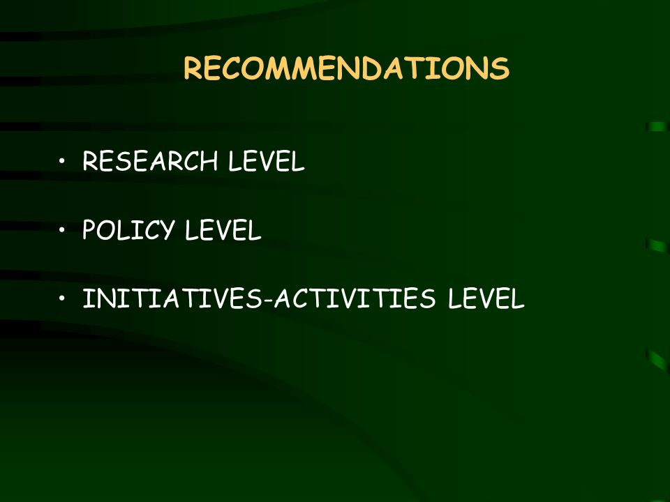 RECOMMENDATIONS RESEARCH LEVEL POLICY LEVEL INITIATIVES-ACTIVITIES LEVEL