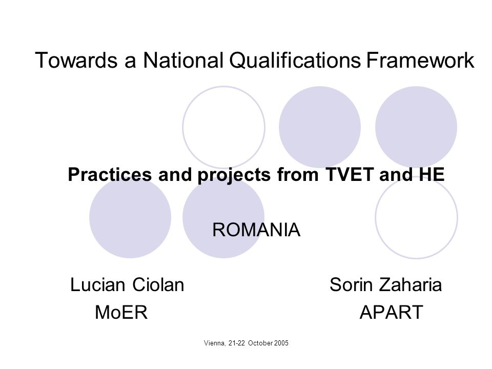 Vienna, 21-22 October 2005 Towards a National Qualifications Framework Practices and projects from TVET and HE ROMANIA Lucian Ciolan Sorin Zaharia MoER APART