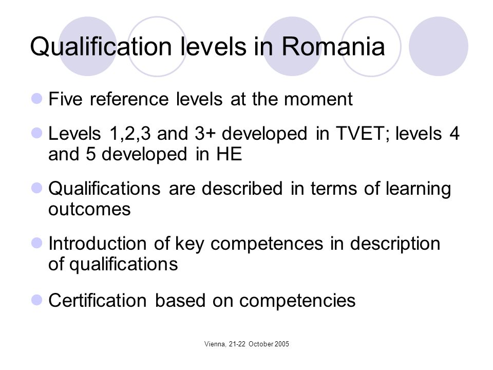 Vienna, 21-22 October 2005 Qualification levels in Romania Five reference levels at the moment Levels 1,2,3 and 3+ developed in TVET; levels 4 and 5 developed in HE Qualifications are described in terms of learning outcomes Introduction of key competences in description of qualifications Certification based on competencies
