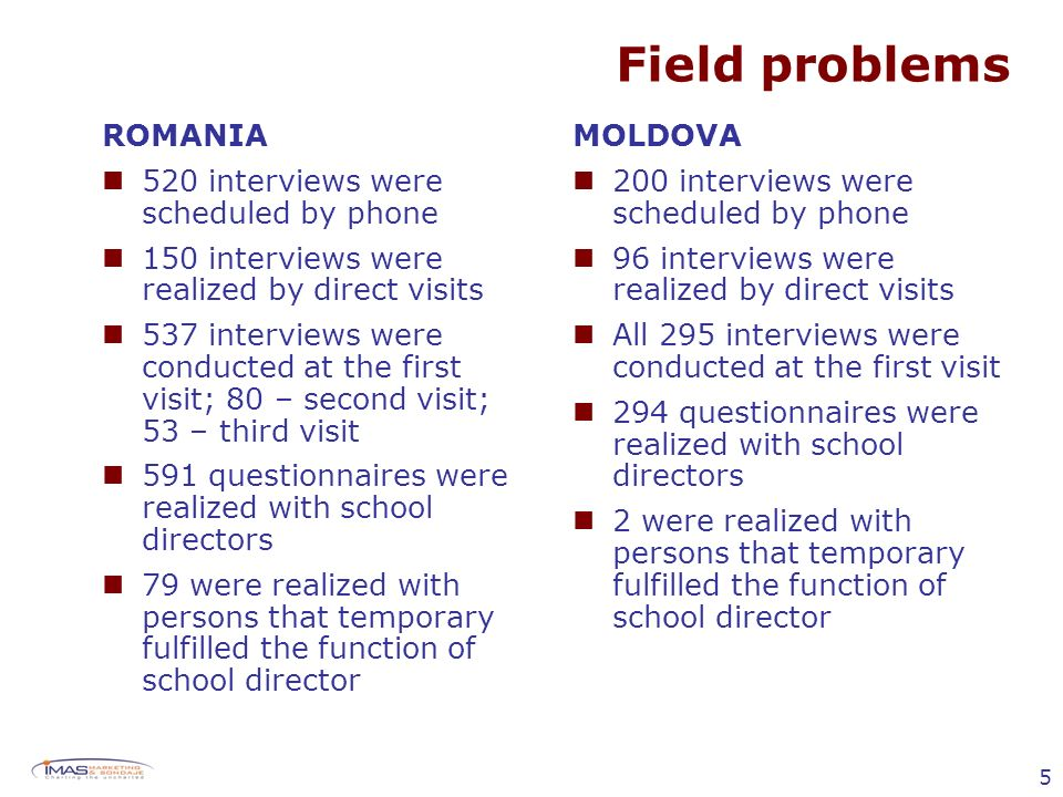 5 Field problems ROMANIA 520 interviews were scheduled by phone 150 interviews were realized by direct visits 537 interviews were conducted at the first visit; 80 – second visit; 53 – third visit 591 questionnaires were realized with school directors 79 were realized with persons that temporary fulfilled the function of school director MOLDOVA 200 interviews were scheduled by phone 96 interviews were realized by direct visits All 295 interviews were conducted at the first visit 294 questionnaires were realized with school directors 2 were realized with persons that temporary fulfilled the function of school director