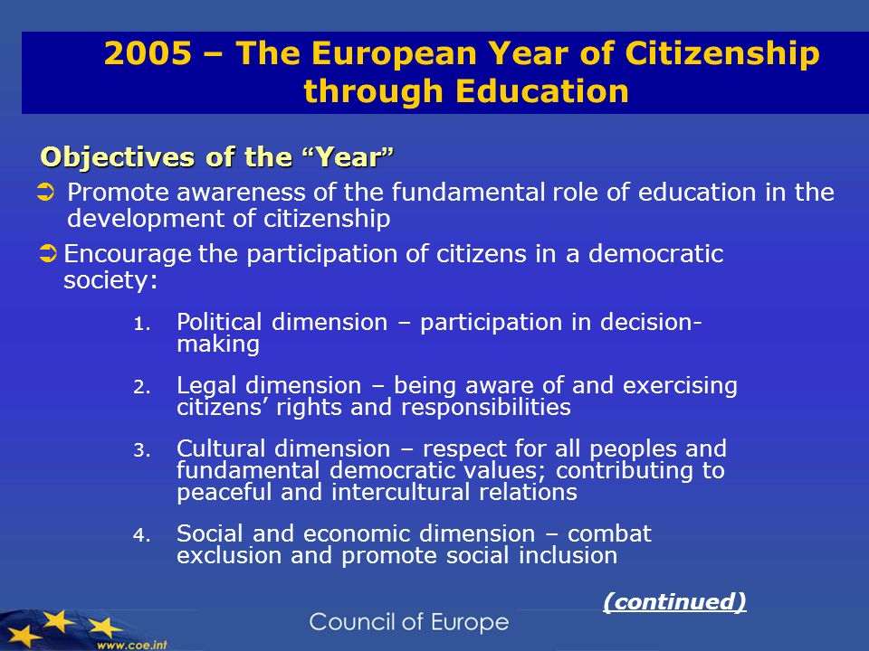 2005 – The European Year of Citizenship through Education Objectives of the Year Objectives of the Year Promote awareness of the fundamental role of education in the development of citizenship Encourage the participation of citizens in a democratic society: 1.