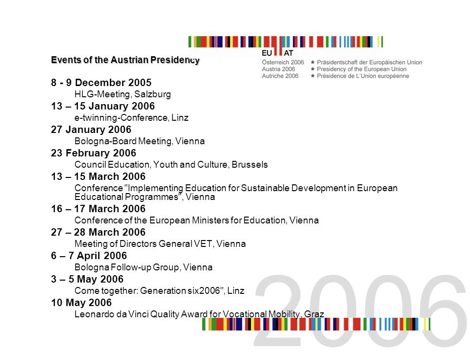 11 – 12 May 2006 Joint Quality Network Conference for HE and VET, Graz 15 – 16 May 2006 Meeting of Directors General HE and Rectors Conference, Graz 18 – 19 May 2006 Council Education, Youth and Culture, Brussels 7 June 2006 Network Cultural Education Policy, Graz 8 – 9 June 2006 Standing Group on Indicators and Benchmarks, Vienna 8 – 10 June 2006 Conference Promoting Cultural Education in Europe , Graz 12 – 13 June 2006 Education Committee, Vienna 13 June 2006 Bologna-Board Meeting, Vienna 14 – 17 June 2006 EDEN Annual Conference, Vienna 20 – 21 June 2006 European Network of Policy Makers for the Evaluation of Education Systems, Graz