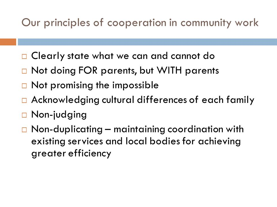 Our principles of cooperation in community work Clearly state what we can and cannot do Not doing FOR parents, but WITH parents Not promising the impossible Acknowledging cultural differences of each family Non-judging Non-duplicating – maintaining coordination with existing services and local bodies for achieving greater efficiency