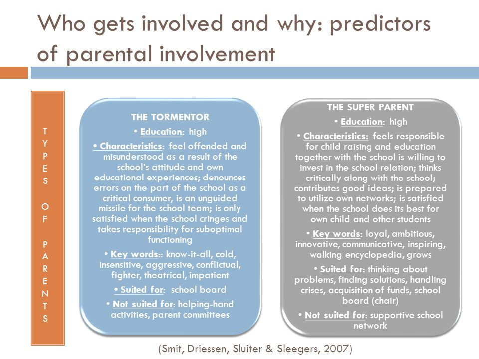Who gets involved and why: predictors of parental involvement THE TORMENTOR Education: high Characteristics: feel offended and misunderstood as a resu
