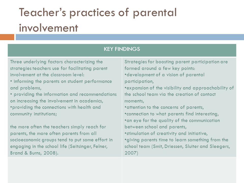 Teachers practices of parental involvement KEY FINDINGS Three underlying factors characterizing the strategies teachers use for facilitating parent in
