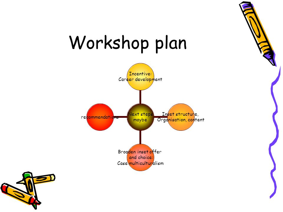 Workshop plan Next steps maybe Incentive: Career development Inset structure, Organisation, content Broaden inset offer and choice: Case multicultural