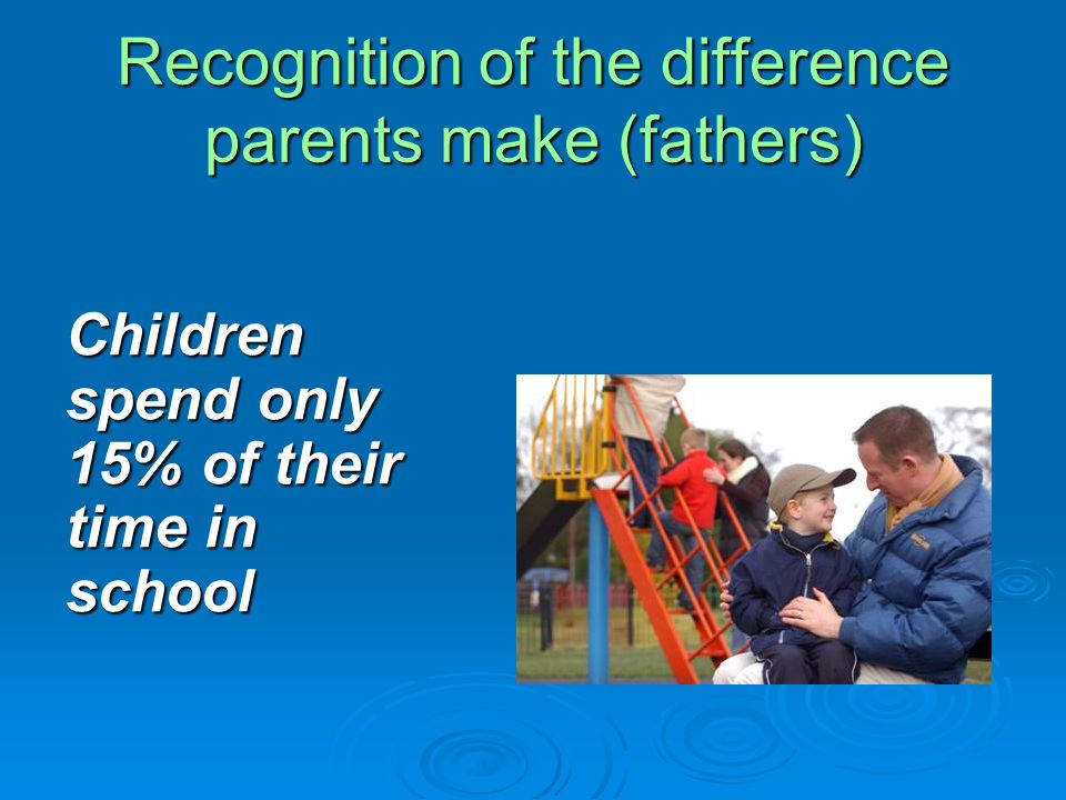 Recognition of the difference parents make (fathers) Children spend only 15% of their time in school