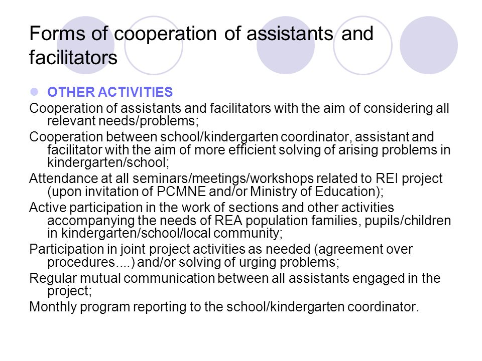 Forms of cooperation of assistants and facilitators OTHER ACTIVITIES Cooperation of assistants and facilitators with the aim of considering all releva
