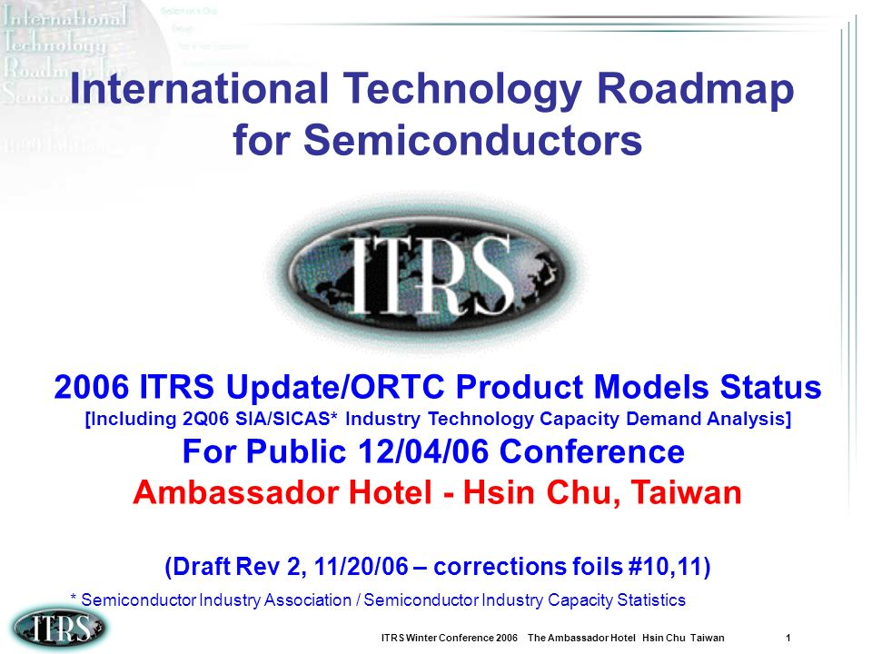 ITRS Winter Conference 2006 The Ambassador Hotel Hsin Chu Taiwan 1 International Technology Roadmap for Semiconductors 2006 ITRS Update/ORTC Product M