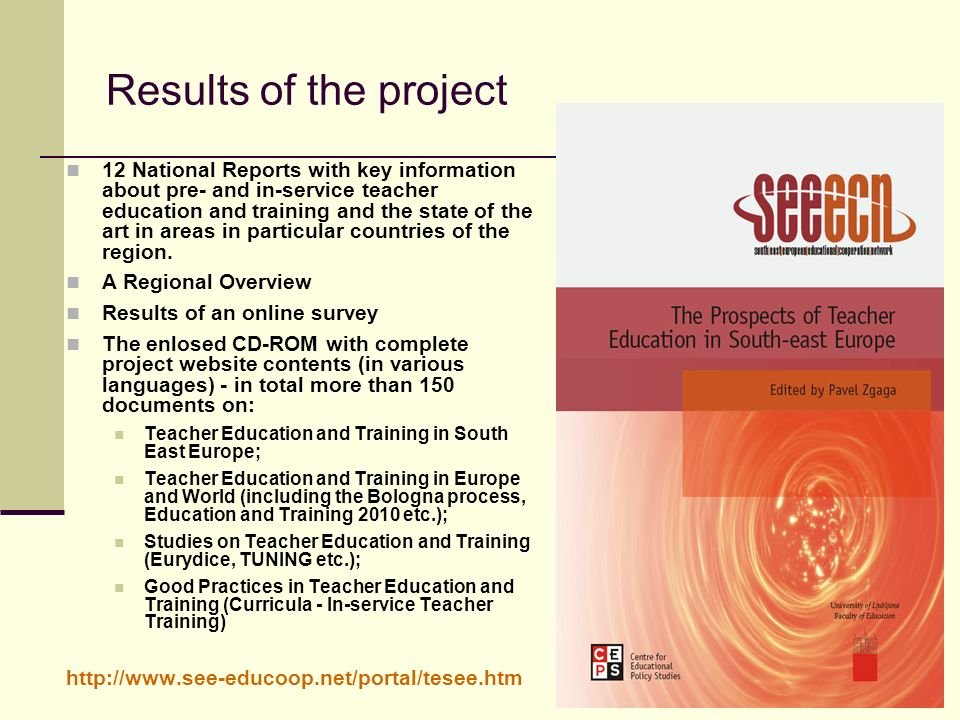 Results of the project 12 National Reports with key information about pre- and in-service teacher education and training and the state of the art in areas in particular countries of the region.
