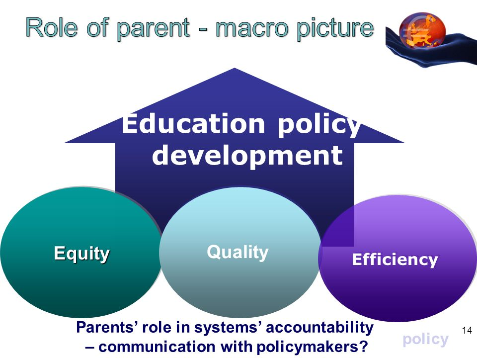 EquityEquity Quality Efficiency Education policy development Parents role in systems accountability – communication with policymakers.