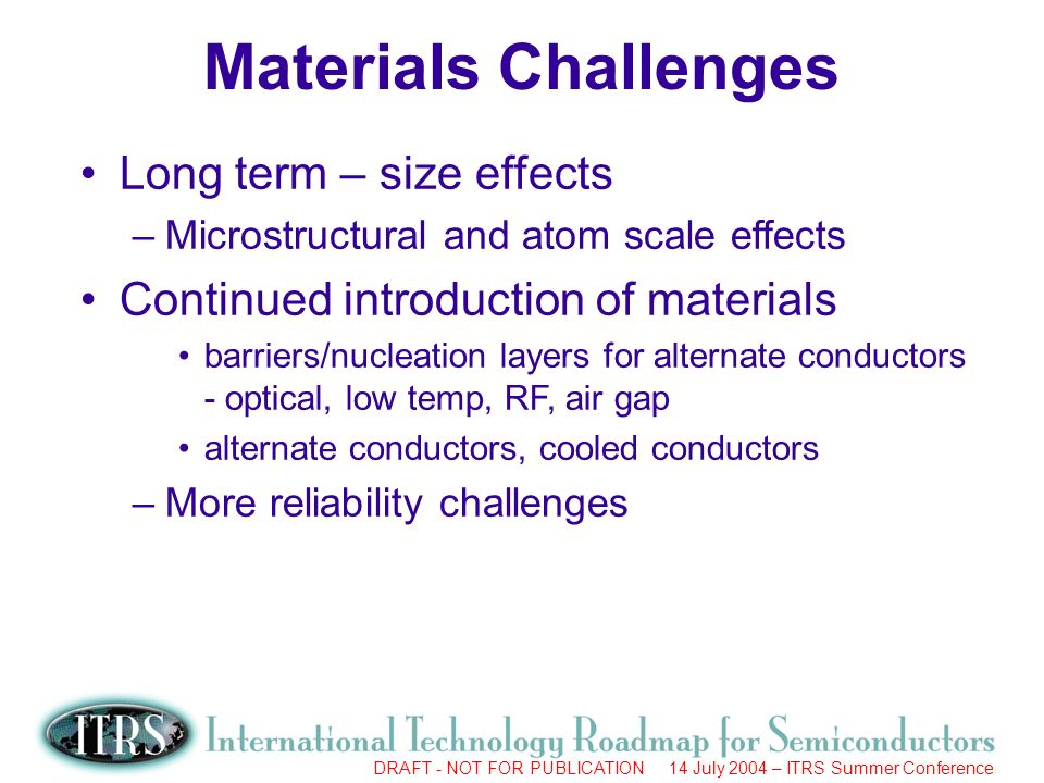 Work in Progress --- Not for Publication DRAFT - NOT FOR PUBLICATION 14 July 2004 – ITRS Summer Conference Long term – size effects –Microstructural and atom scale effects Continued introduction of materials barriers/nucleation layers for alternate conductors - optical, low temp, RF, air gap alternate conductors, cooled conductors –More reliability challenges Materials Challenges