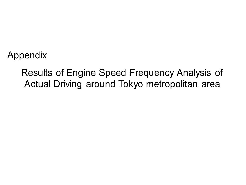 Appendix Results of Engine Speed Frequency Analysis of Actual Driving around Tokyo metropolitan area