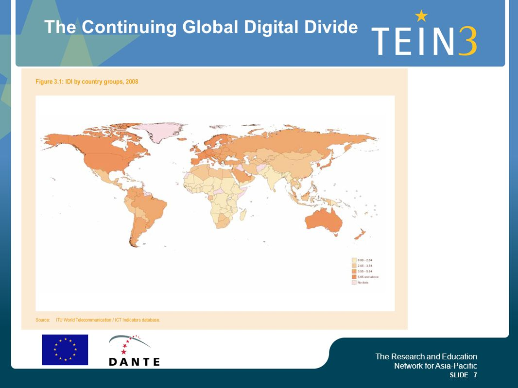 The Research and Education Network for Asia-Pacific SLIDE 7 The Continuing Global Digital Divide
