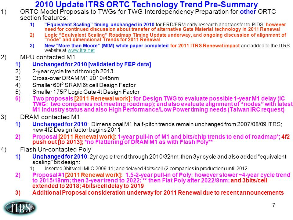 7 2010 Update ITRS ORTC Technology Trend Pre-Summary 1)ORTC Model Proposals to TWGs for TWG Interdependency Preparation for other ORTC section feature