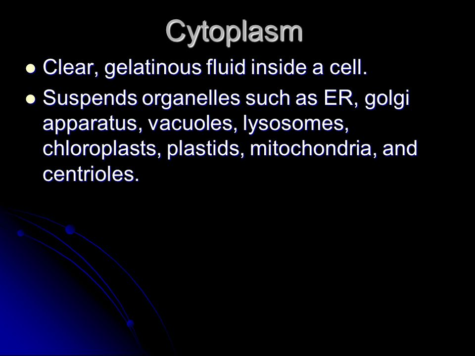 Cytoplasm Clear, gelatinous fluid inside a cell.Clear, gelatinous fluid inside a cell.