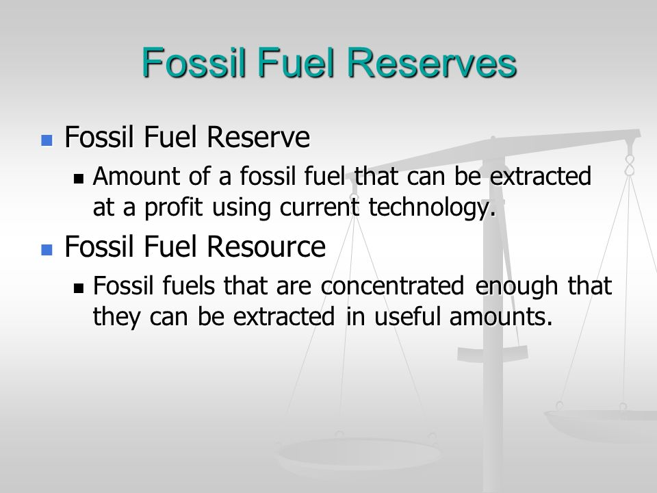 Fossil Fuel Reserves Fossil Fuel Reserve Fossil Fuel Reserve Amount of a fossil fuel that can be extracted at a profit using current technology. Amoun