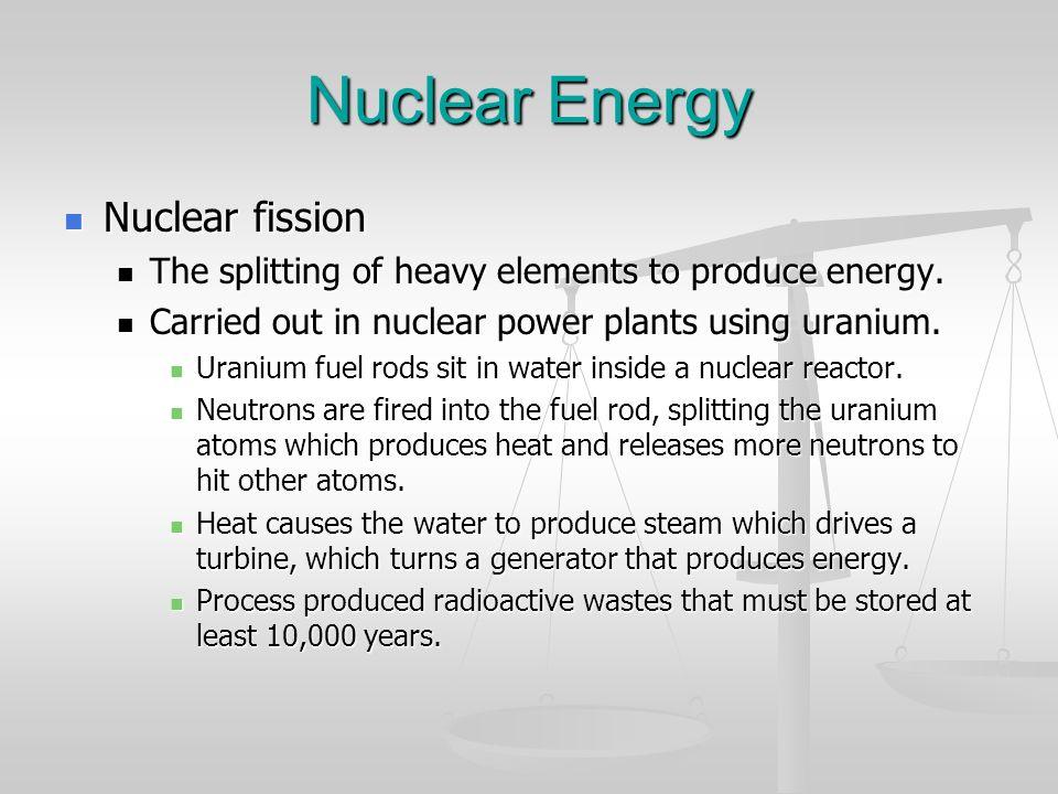 Nuclear Energy Nuclear fission Nuclear fission The splitting of heavy elements to produce energy. The splitting of heavy elements to produce energy. C
