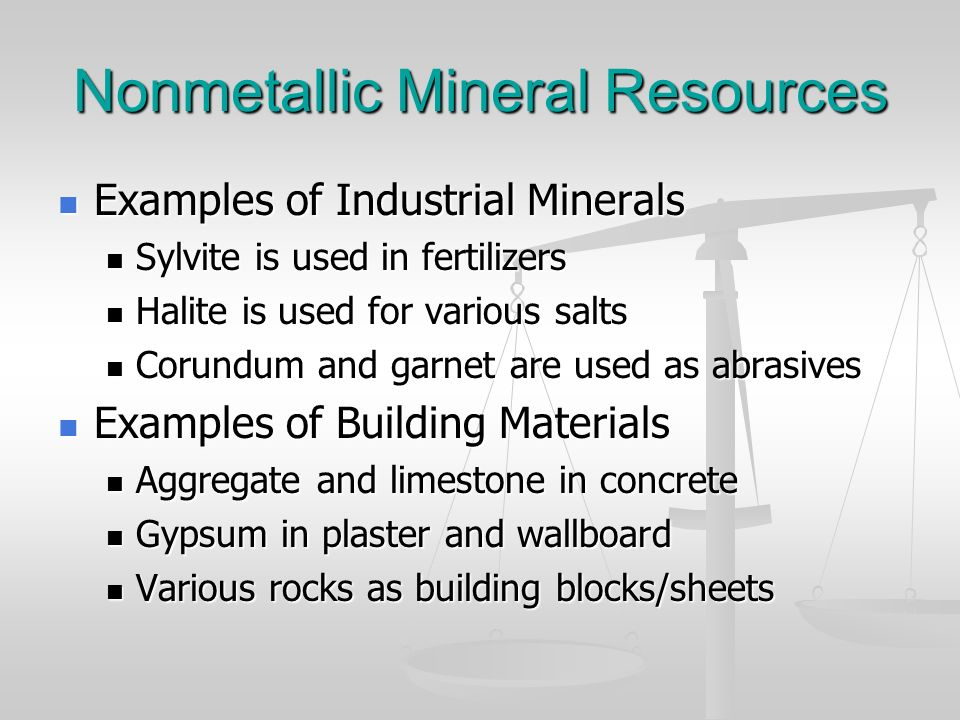 Nonmetallic Mineral Resources Examples of Industrial Minerals Examples of Industrial Minerals Sylvite is used in fertilizers Sylvite is used in fertil