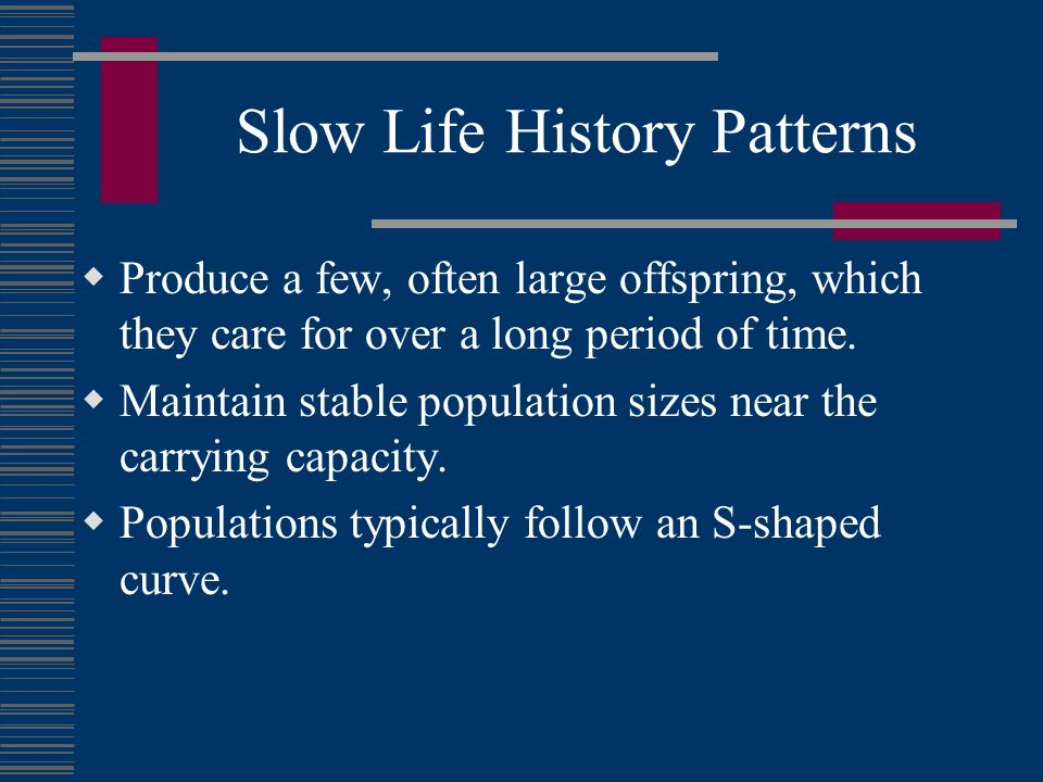 Slow Life History Patterns Produce a few, often large offspring, which they care for over a long period of time. Maintain stable population sizes near