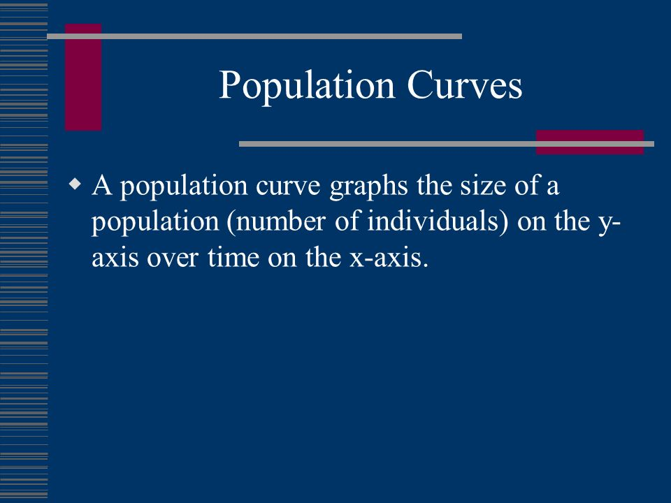 Population Curves A population curve graphs the size of a population (number of individuals) on the y- axis over time on the x-axis.