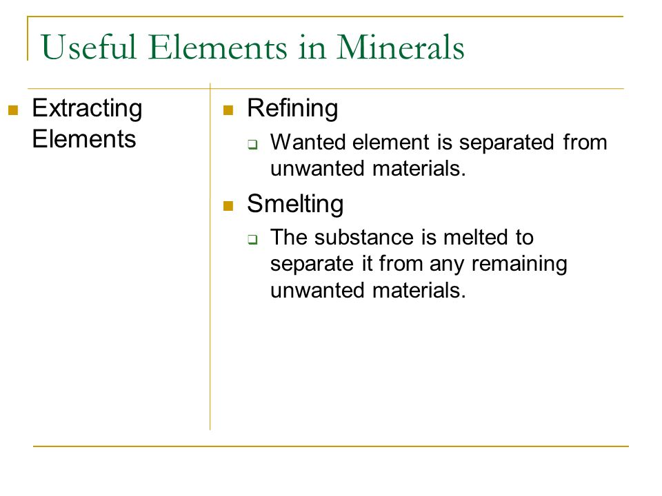 Useful Elements in Minerals Extracting Elements Refining Wanted element is separated from unwanted materials. Smelting The substance is melted to sepa