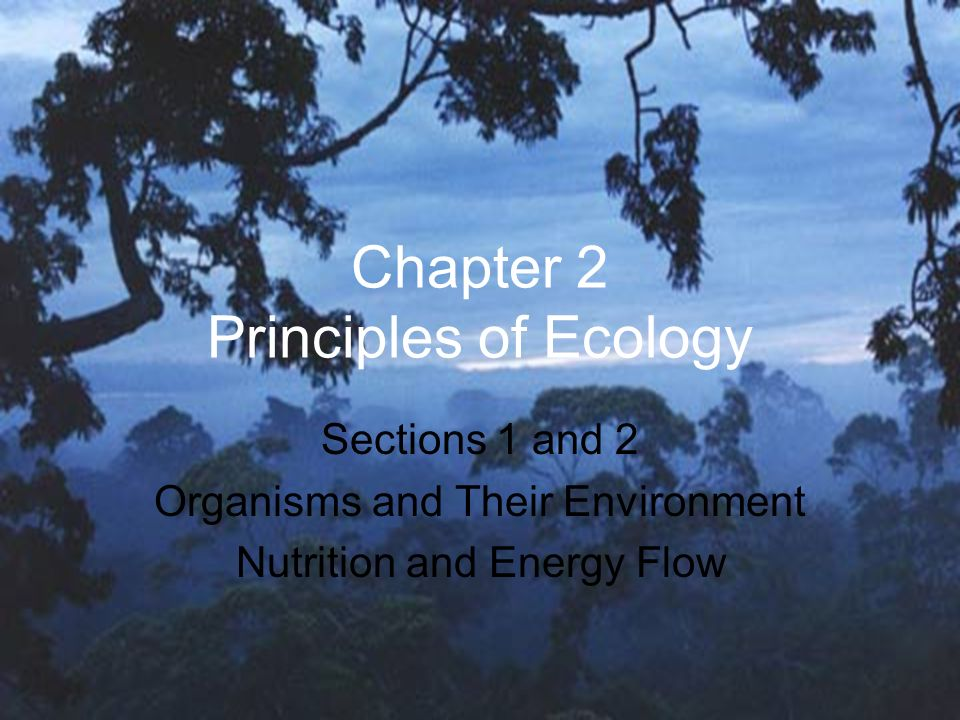 Chapter 2 Principles of Ecology Sections 1 and 2 Organisms and Their Environment Nutrition and Energy Flow