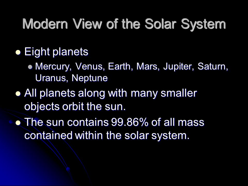 Modern View of the Solar System Eight planets Eight planets Mercury, Venus, Earth, Mars, Jupiter, Saturn, Uranus, Neptune Mercury, Venus, Earth, Mars,