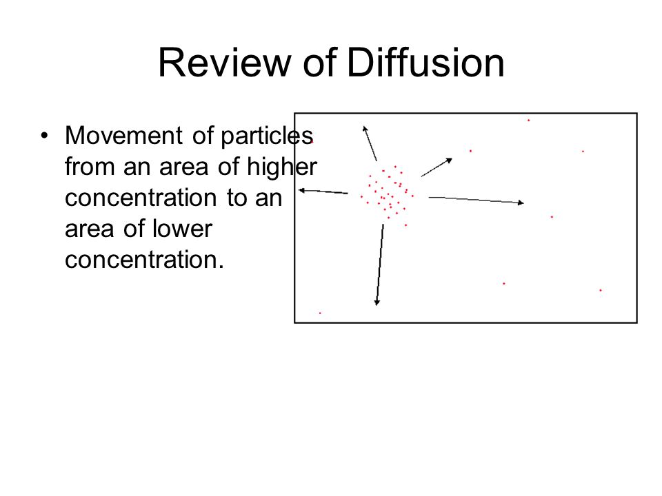 Osmosis Diffusion of water across a selectively permeable membrane.