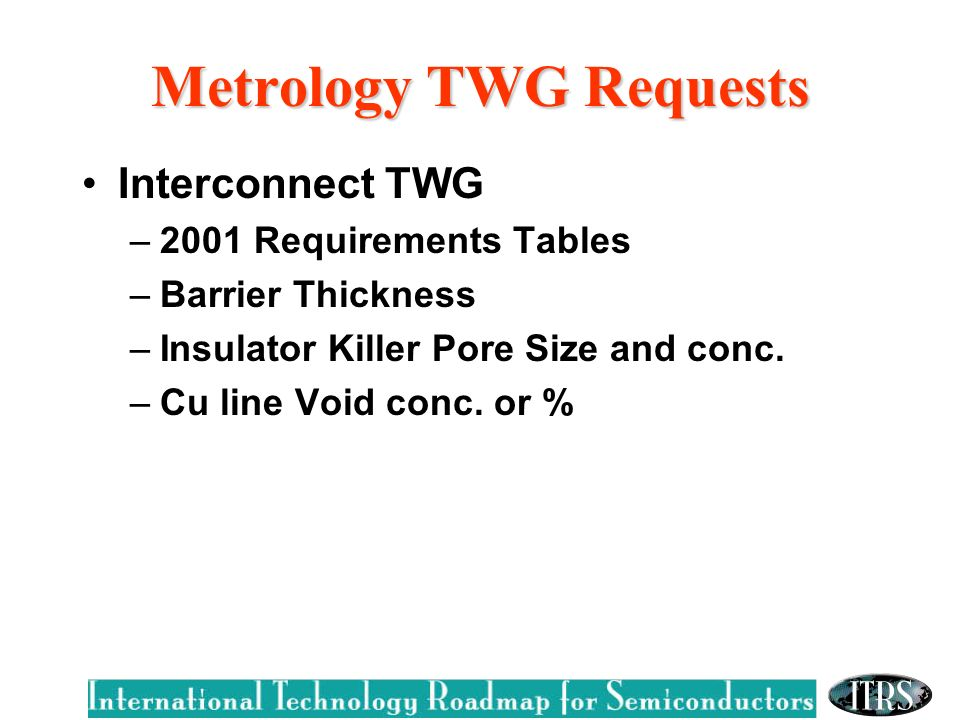 Metrology TWG Requests Interconnect TWG –2001 Requirements Tables –Barrier Thickness –Insulator Killer Pore Size and conc.