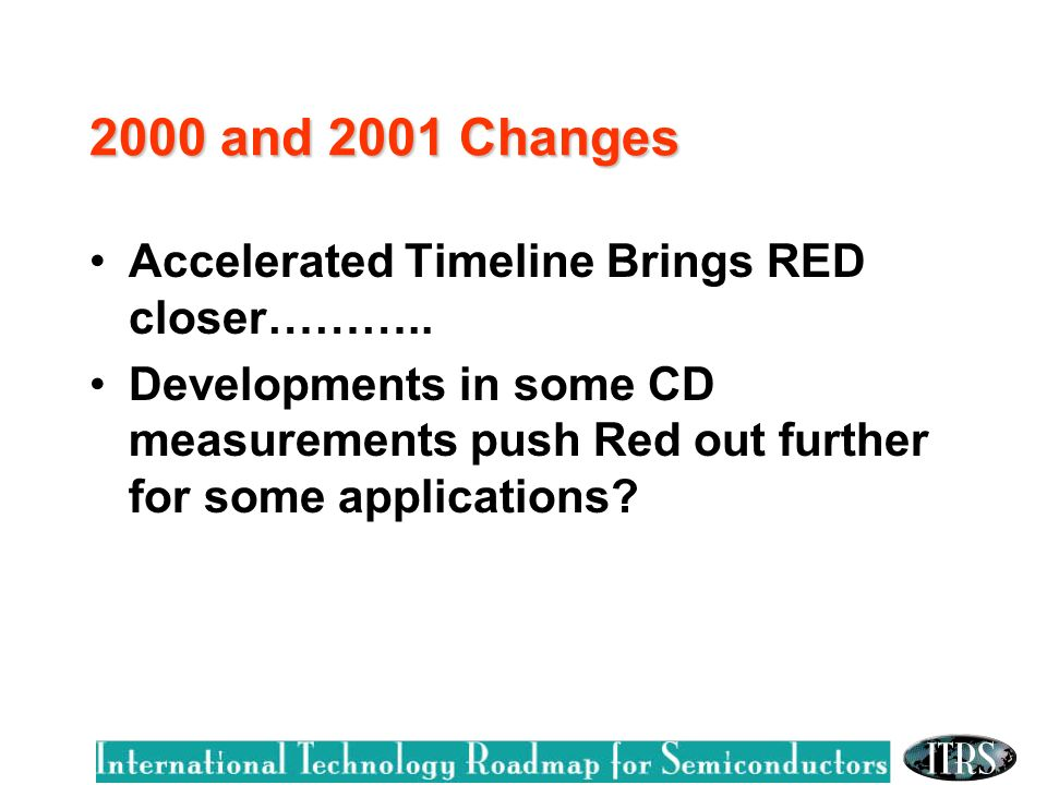 2000 and 2001 Changes Accelerated Timeline Brings RED closer………..
