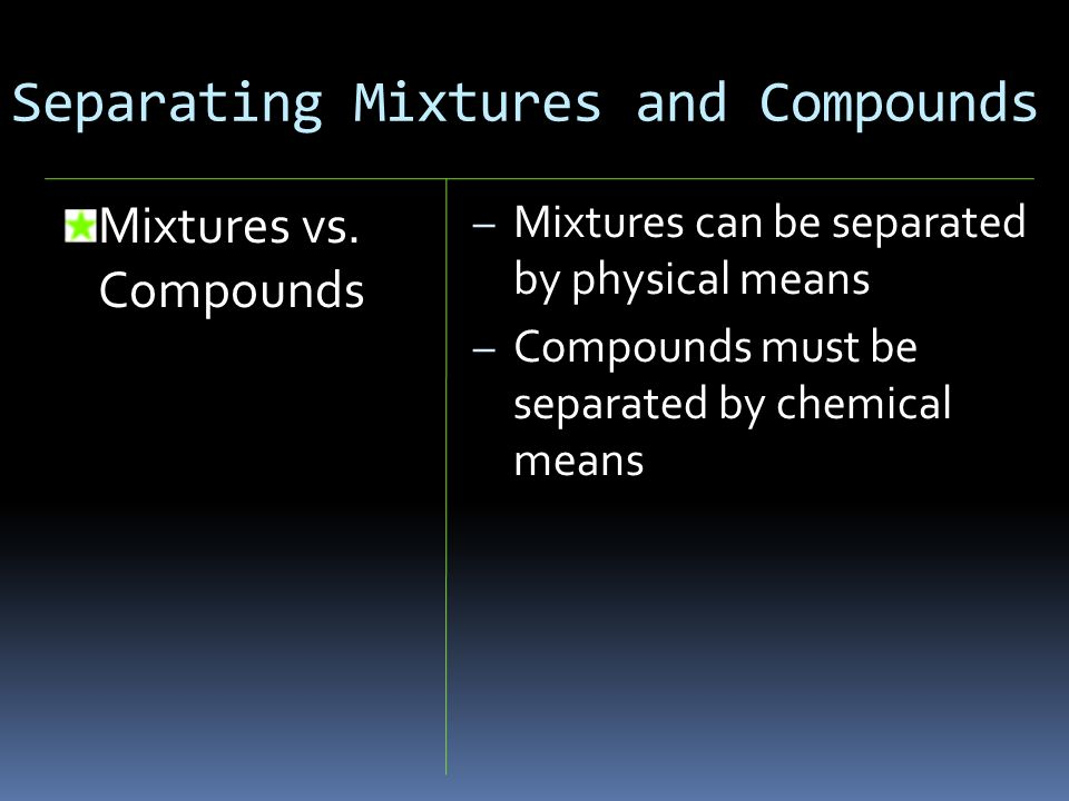 Separating Mixtures and Compounds Mixtures vs. Compounds – Mixtures can be separated by physical means – Compounds must be separated by chemical means