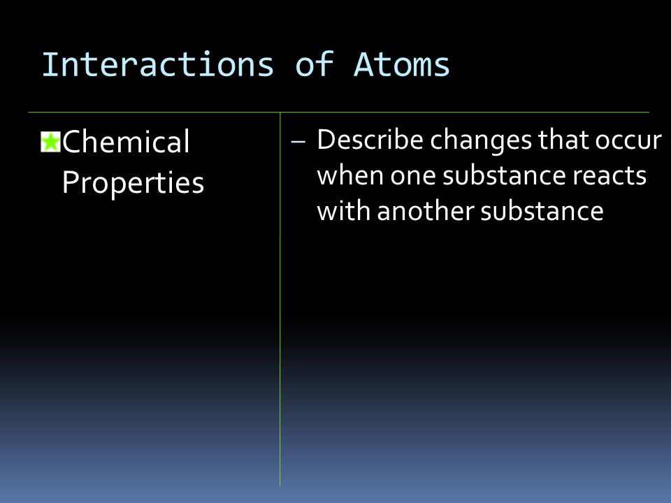 Interactions of Atoms Chemical Properties – Describe changes that occur when one substance reacts with another substance