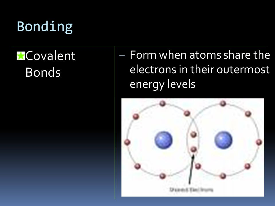 Bonding Covalent Bonds – Form when atoms share the electrons in their outermost energy levels