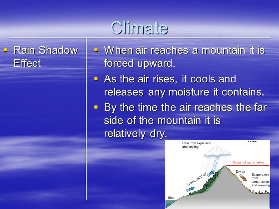 Climate Rain Shadow Effect Rain Shadow Effect When air reaches a mountain it is forced upward. When air reaches a mountain it is forced upward. As the