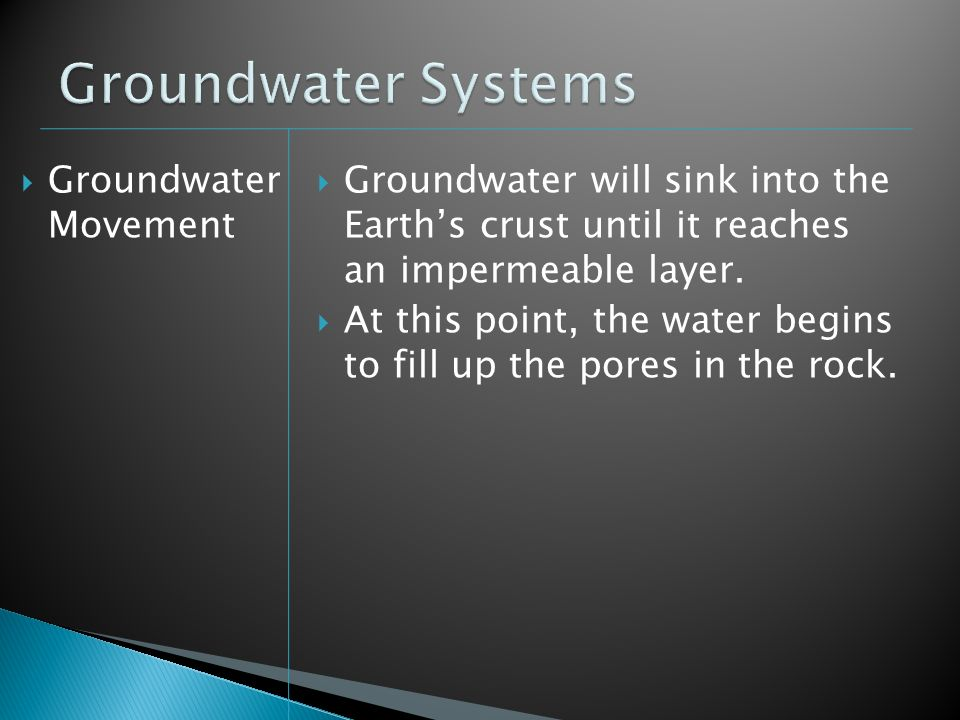 Groundwater Movement Groundwater will sink into the Earths crust until it reaches an impermeable layer. At this point, the water begins to fill up the