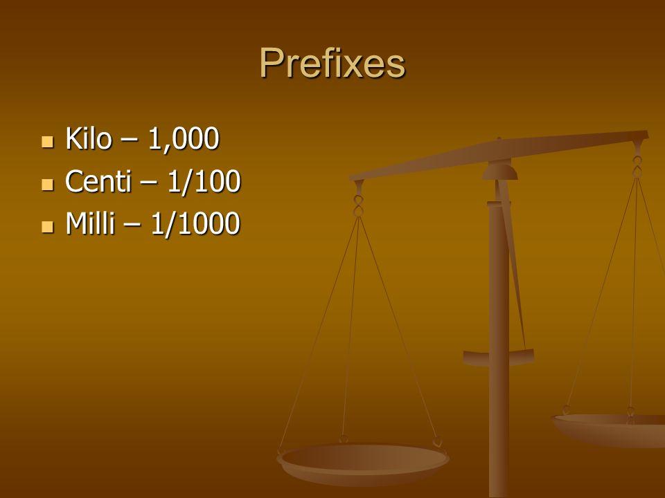 Prefixes Kilo – 1,000 Kilo – 1,000 Centi – 1/100 Centi – 1/100 Milli – 1/1000 Milli – 1/1000