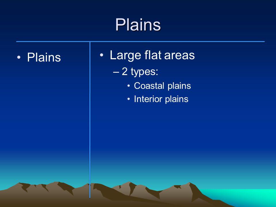 Plains Plains Large flat areas –2 types: Coastal plains Interior plains