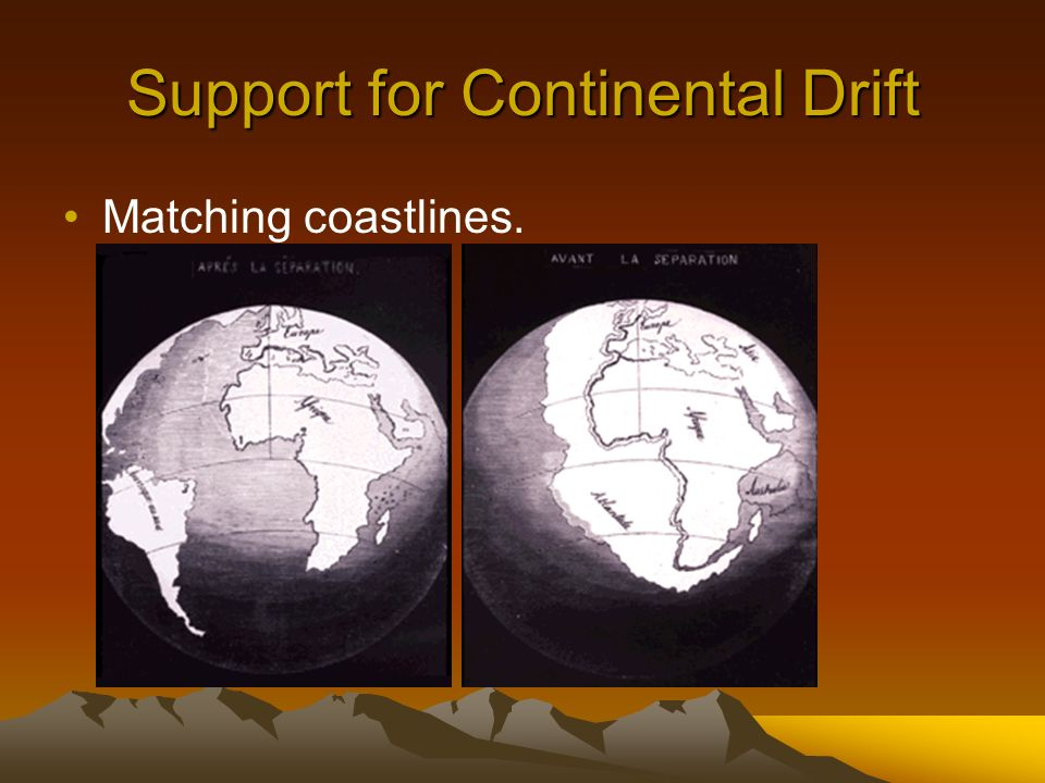 Support for Continental Drift Matching coastlines.