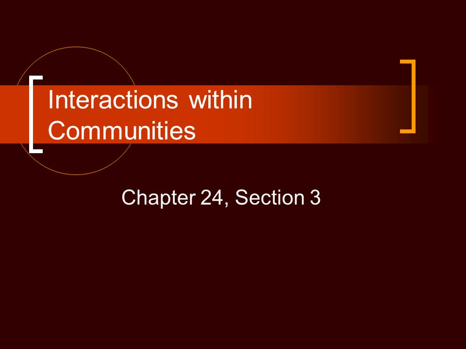 Interactions within Communities Chapter 24, Section 3