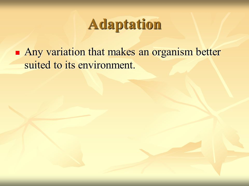 Adaptation Any variation that makes an organism better suited to its environment. Any variation that makes an organism better suited to its environmen